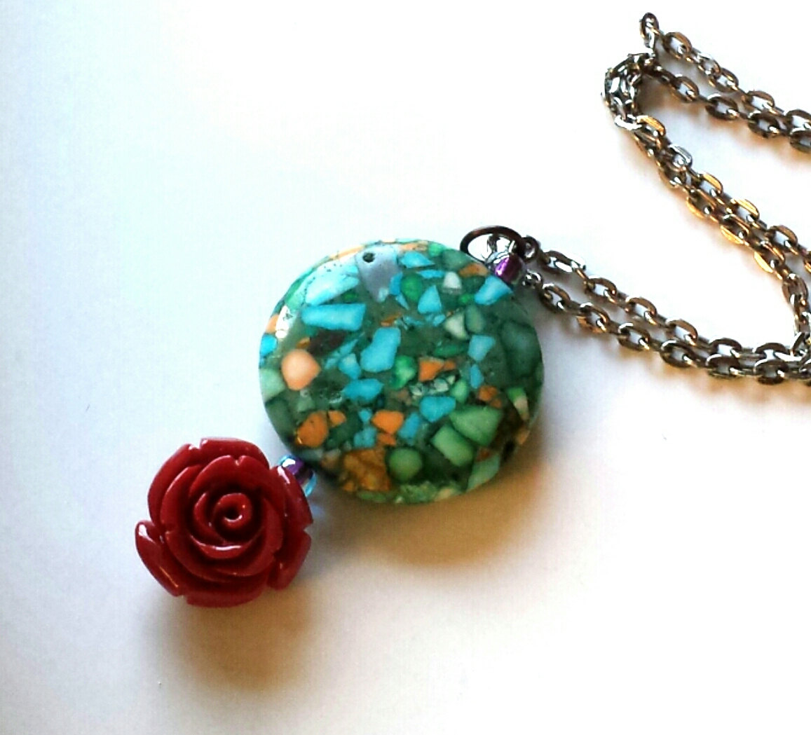 Turquoise green conglomerate red rose pendant necklace mozeypictures Choice Image